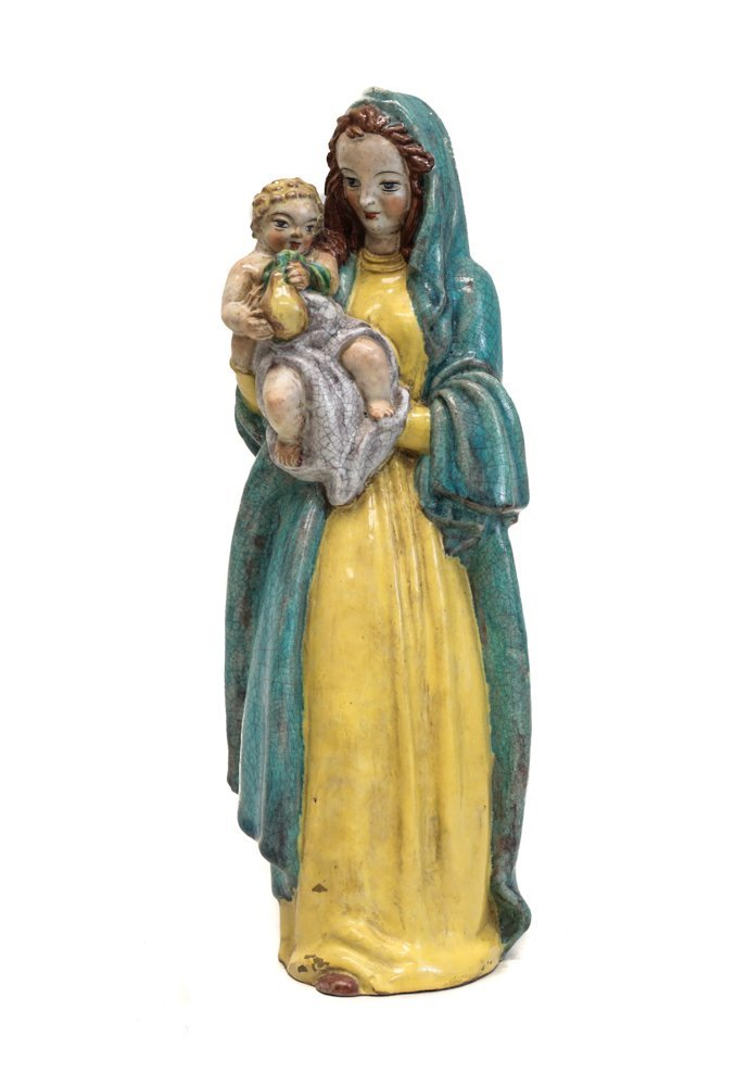 Continental Faience Polychrome Madonna Figure