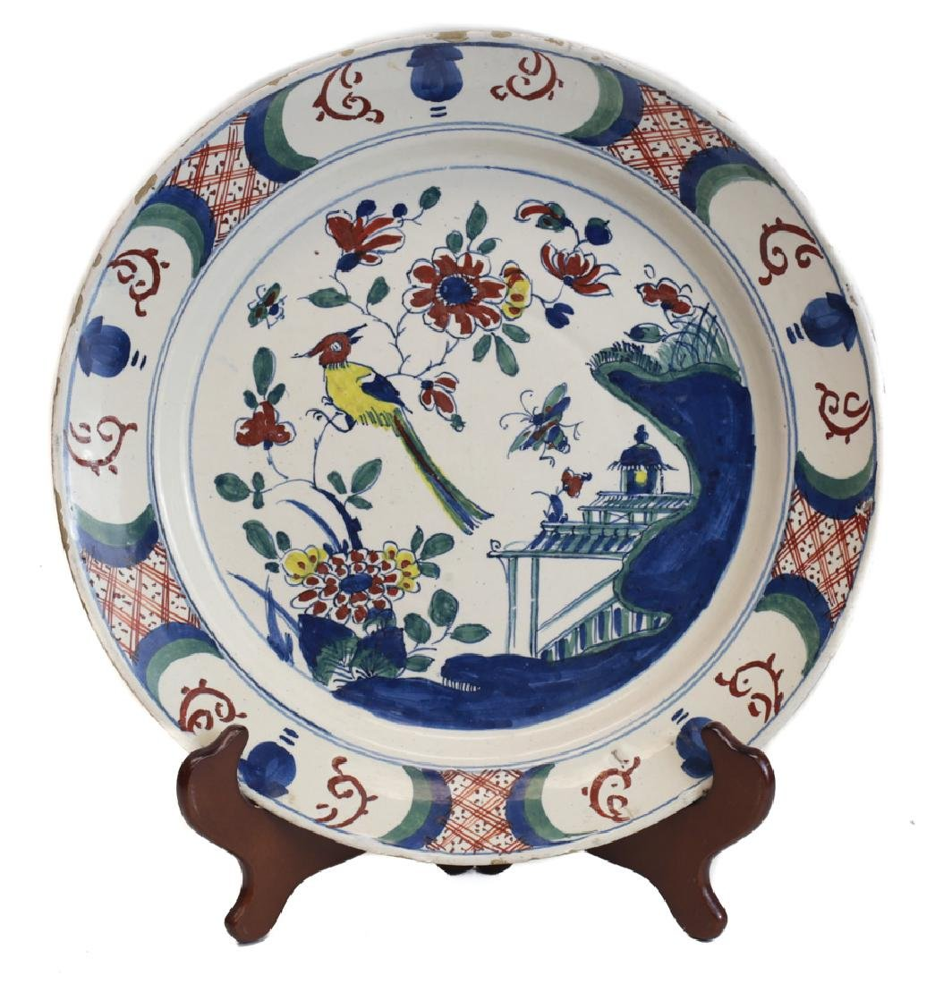Continental Faience Polychrome Charger