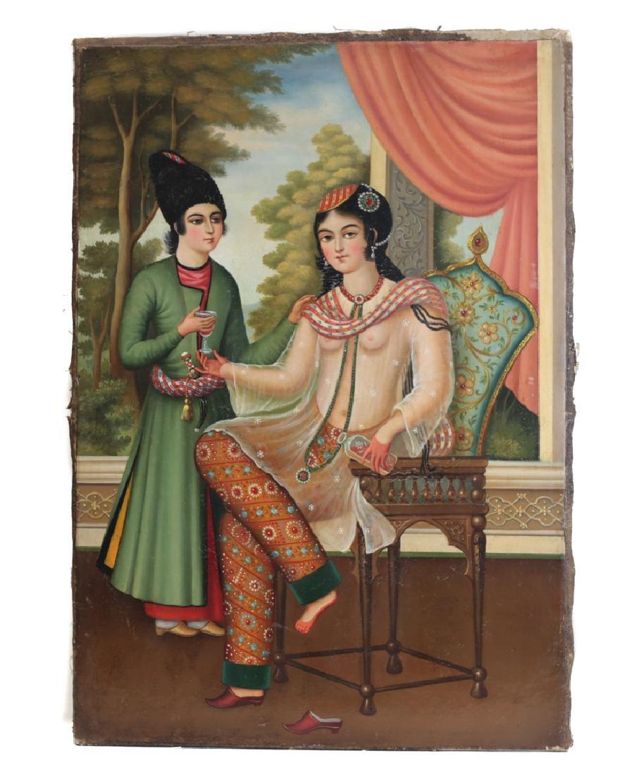 Persian Kajar Oil Painting on Canvas