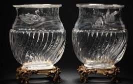 French Pair Cut Crystal & Ormolu Vases by Baccarat