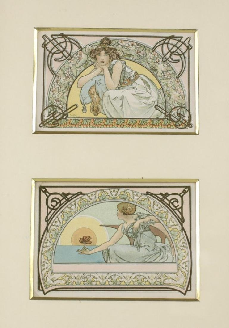 Alphonse Mucha (Czech, 1860-1939) Two postcards