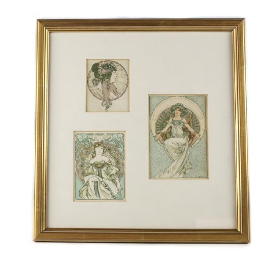 Alphonse Mucha (Czech, 1860-1939) Three Postcards - 2