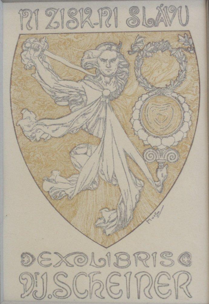 Alphonse Mucha (Czech, 1860-1939) Ex-Libris Bookplate - 2