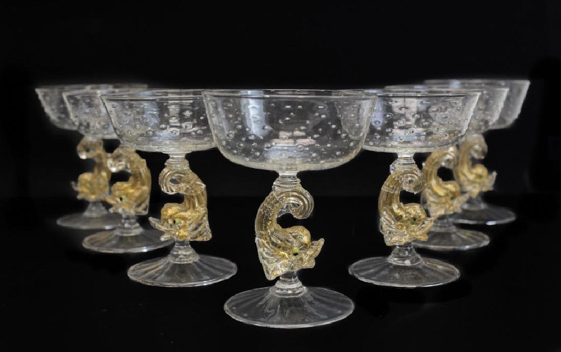 Venetian Gold Controlled Bubble Glass Compotes