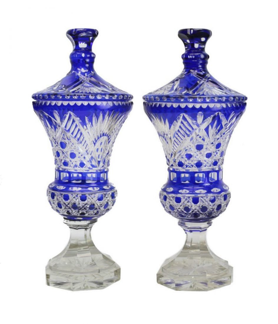Large Pair of Bohemian Lidded Urns