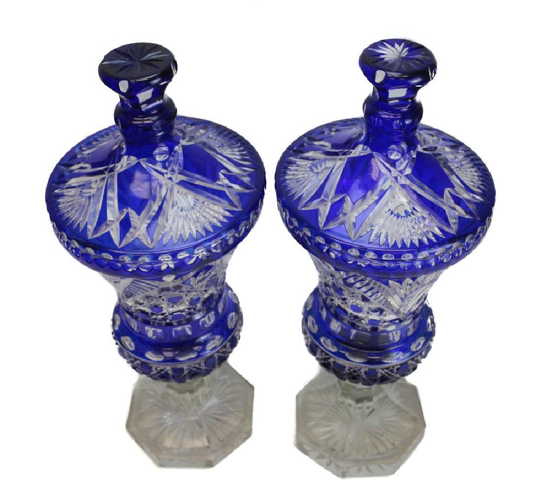 Large Pair of Bohemian Lidded Urns - 2