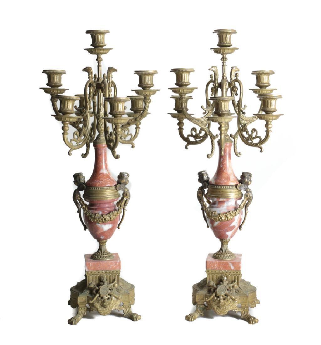 Pair of Marble & Bronze Candelabras
