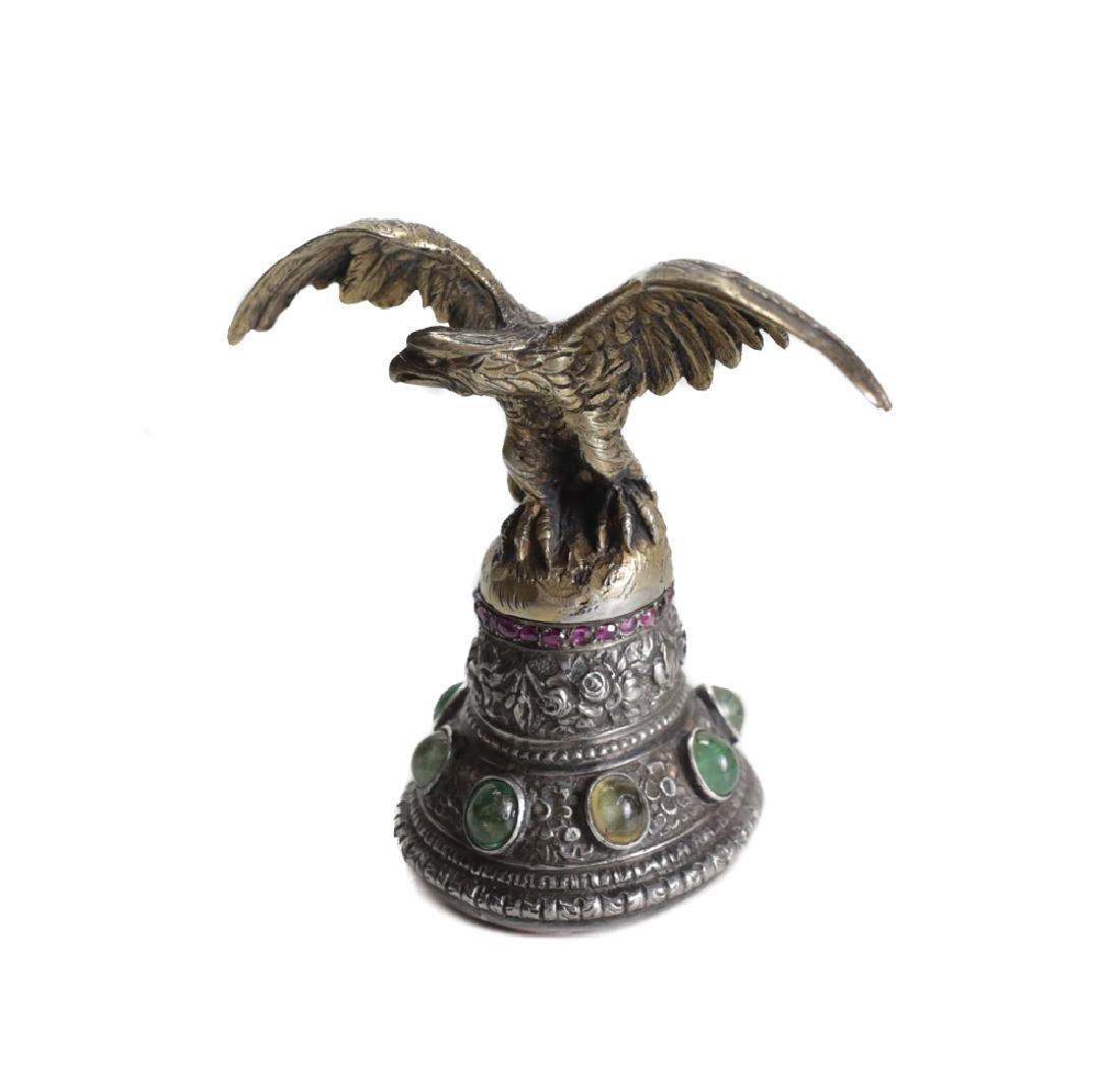 Silver Gem Set Eagle Wax Seal - 3