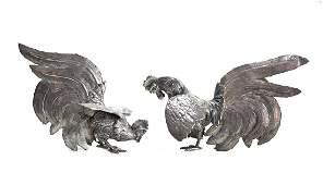 Pair Peruvian Sterling Silver Fighting Cocks