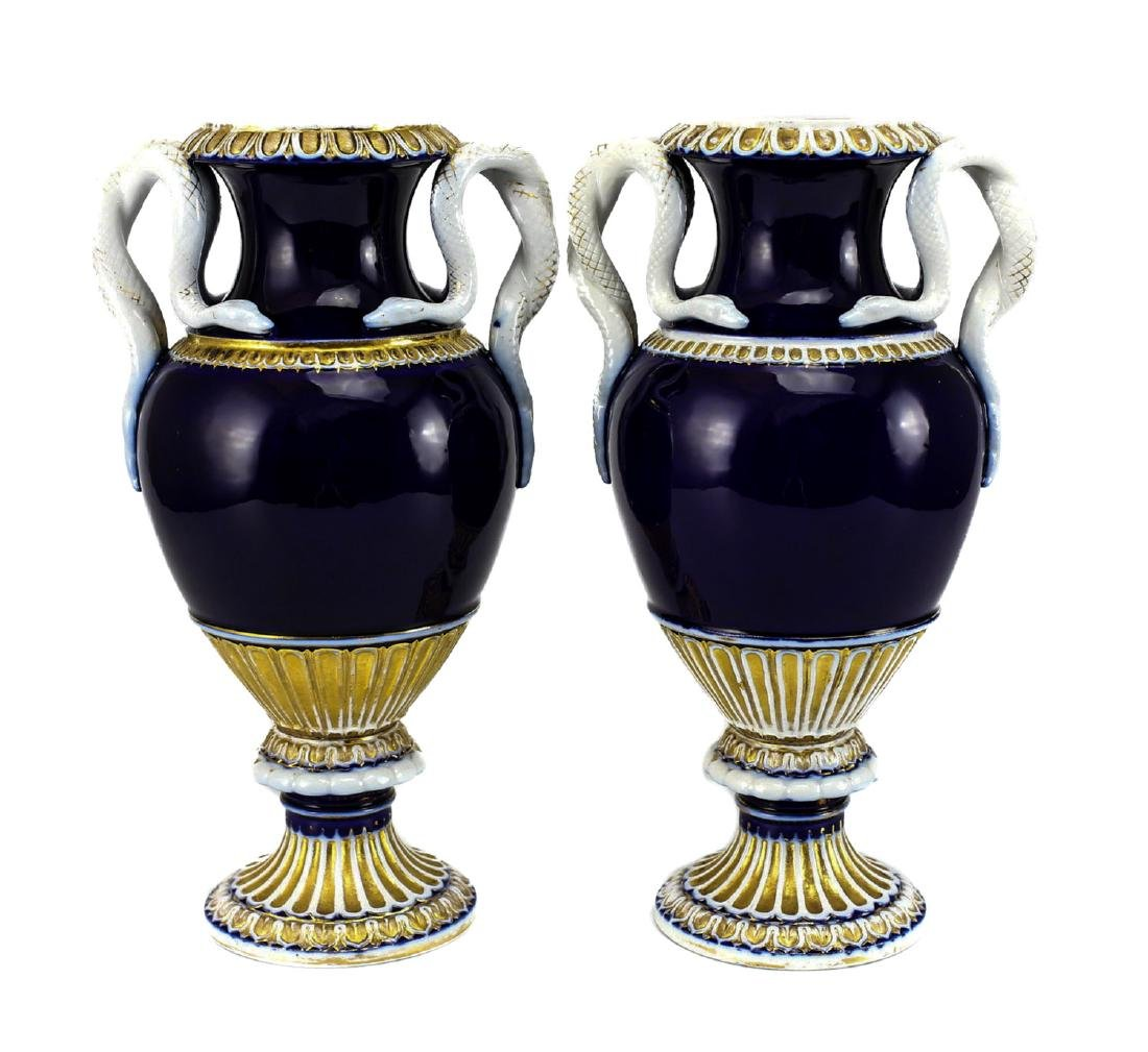 Pair Meissen Porcelain Urns