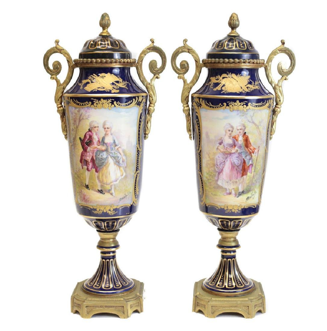 Pair Sevres Hand Painted Double Handled Urns
