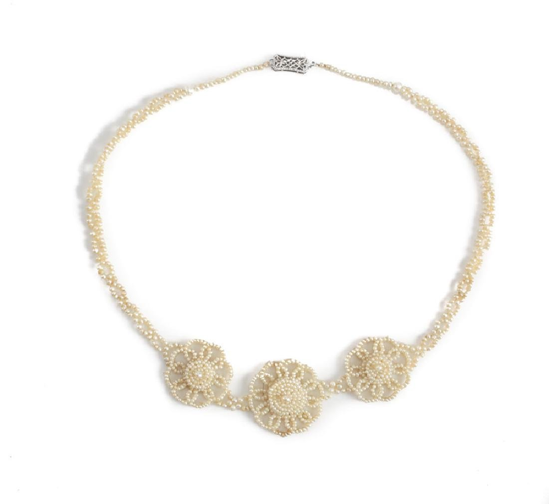 14k Gold Victorian Seed Pearl Necklace
