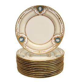 12 Minton for Tiffany & Co. Pate-Sur-Pate Plates,