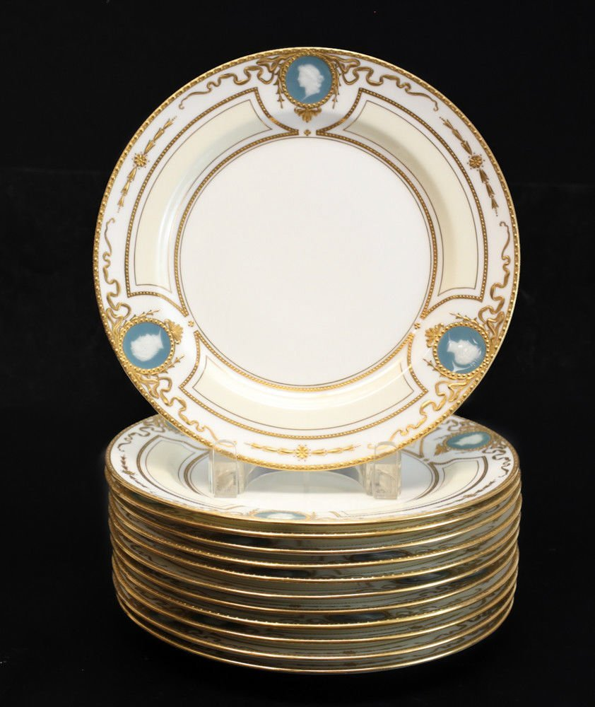 12 Minton for Tiffany & Co. Pate-Sur-Pate Plates, - 2