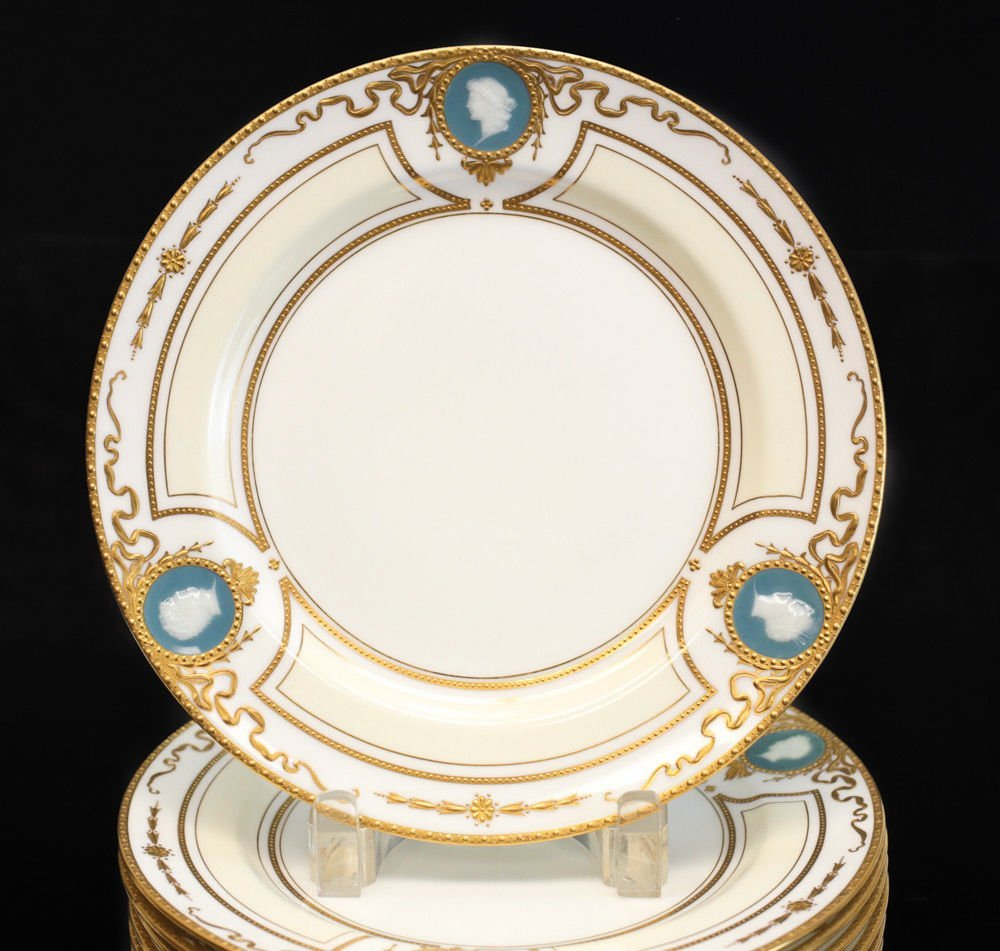 12 Minton for Tiffany & Co. Pate-Sur-Pate Plates, - 5
