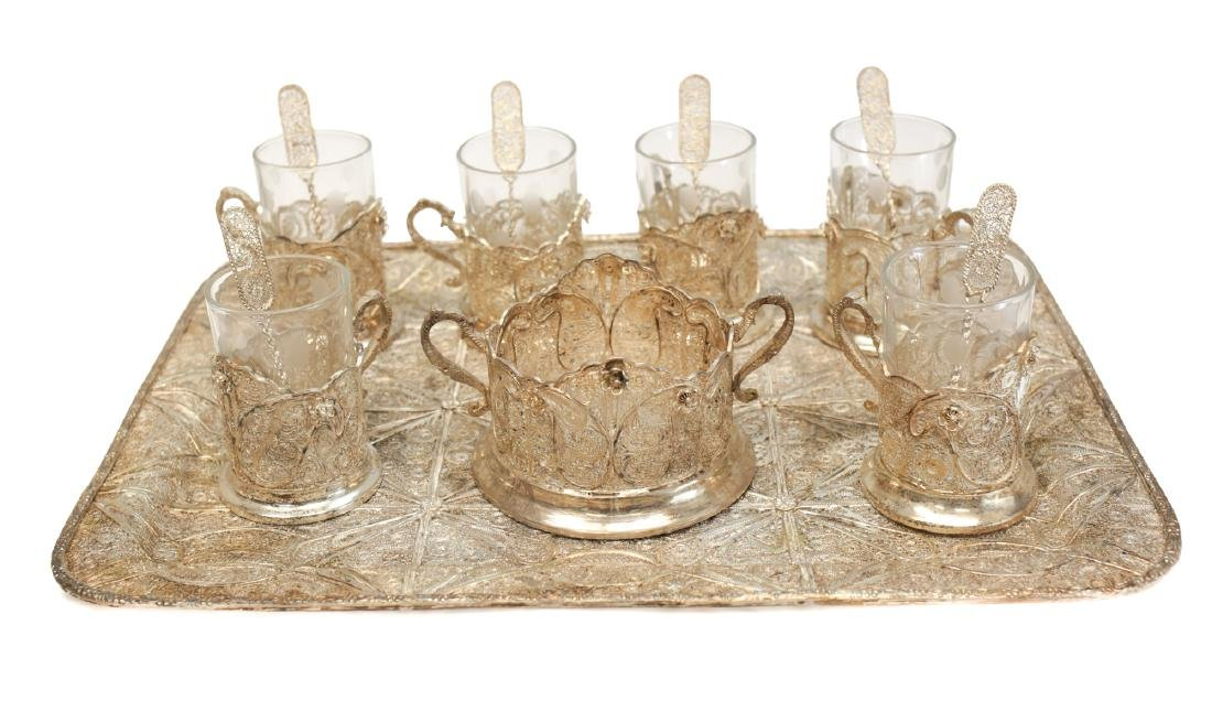 Sterling Silver Filagree & Glass Tea Service for 6