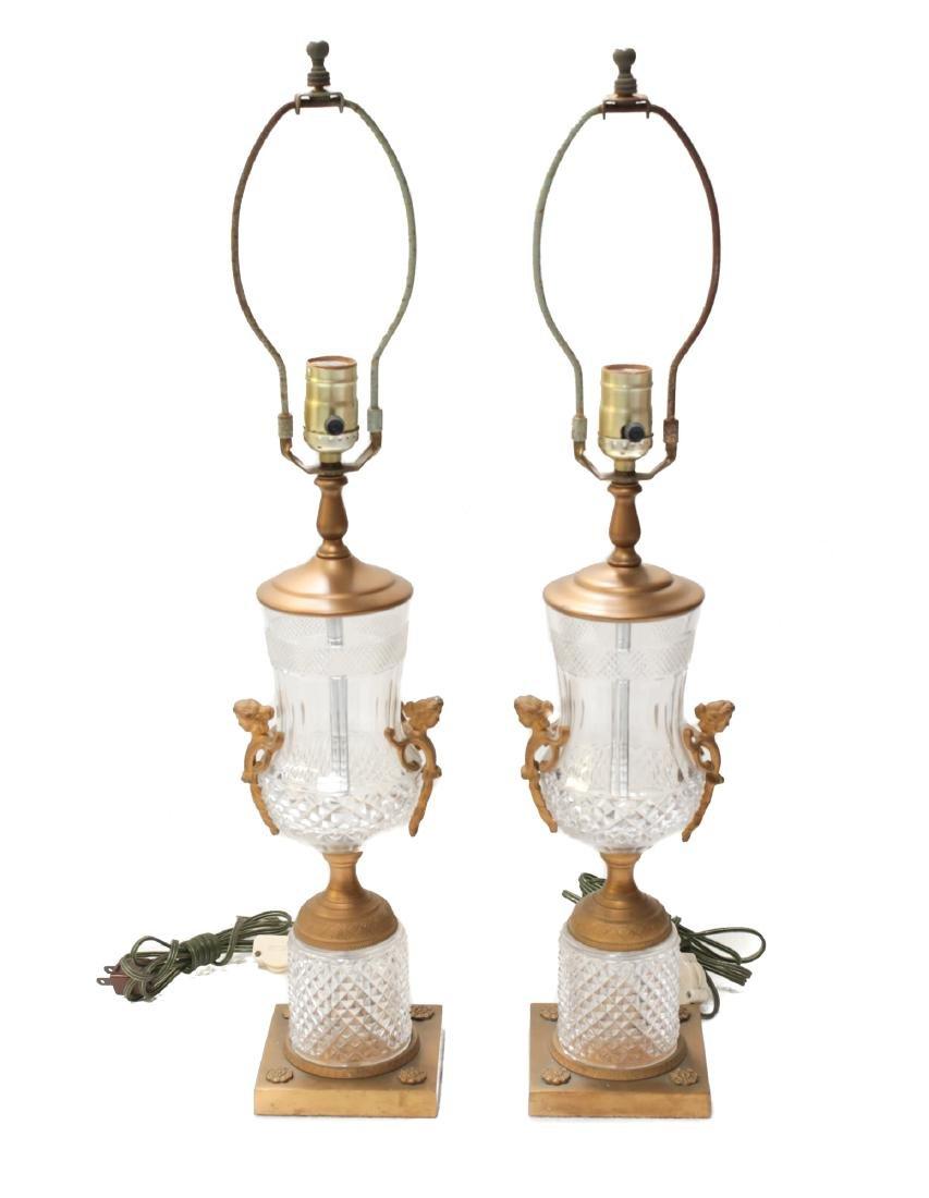 Pair Cut Glass & Gilt Bronze Lamps