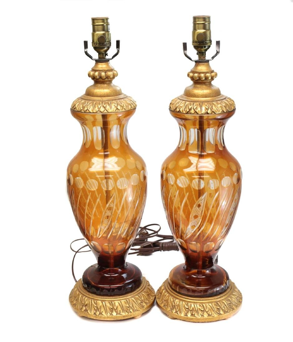 Pair Amber Glass & Gilt Wood Lamps