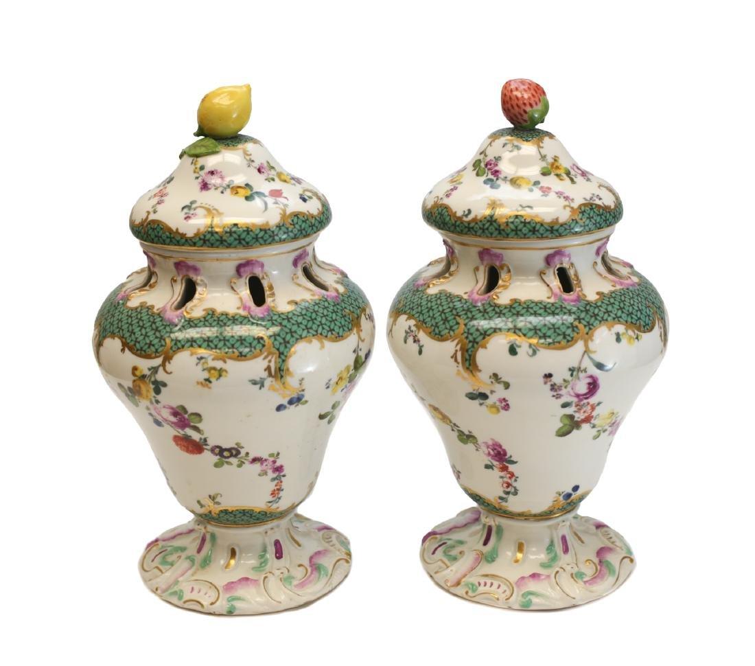 Meissen Porcelain Pot Pourri Vases