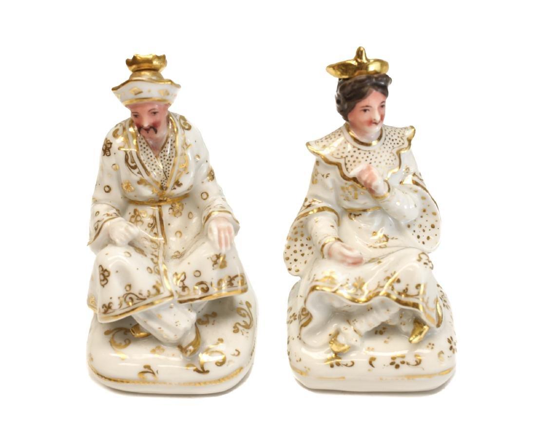 Pair Continental Porcelain Perfume Bottles