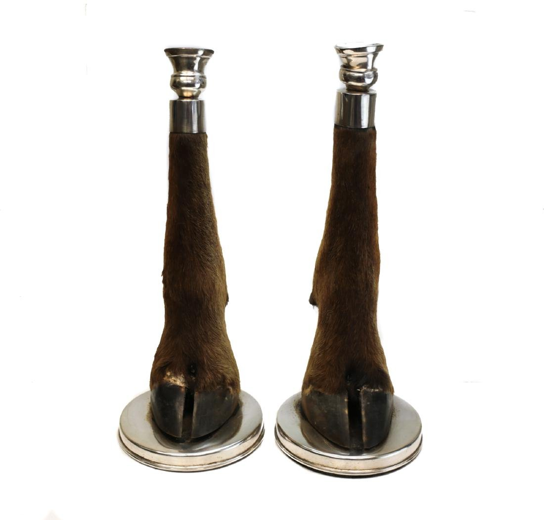 Pair of Stagg & Silver Candlesticks
