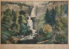 Currier and Ives Hand colored Lithograph Catterskill