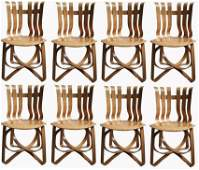 8pc Set Frank Gehry Hat Trick Chairs for Knoll, 1996.