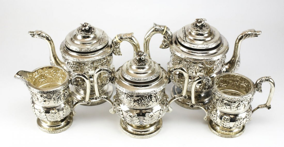 1817 S Kirk Coin Silver Tea & Coffee Set Sea Creature 1