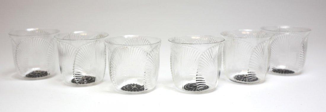 7pc Rene Lalique Coquelicot Art Glass Enamel Goblets