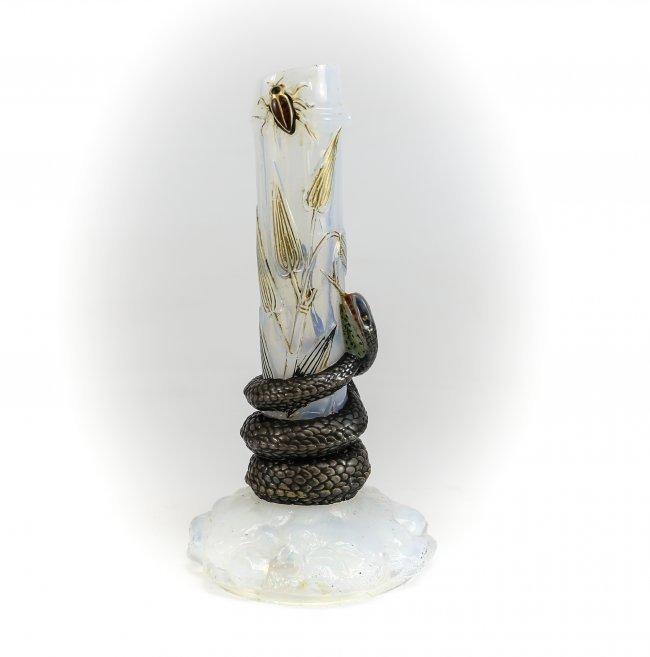 Baccarat Iridescent Art Glass Vase - Raised Snake