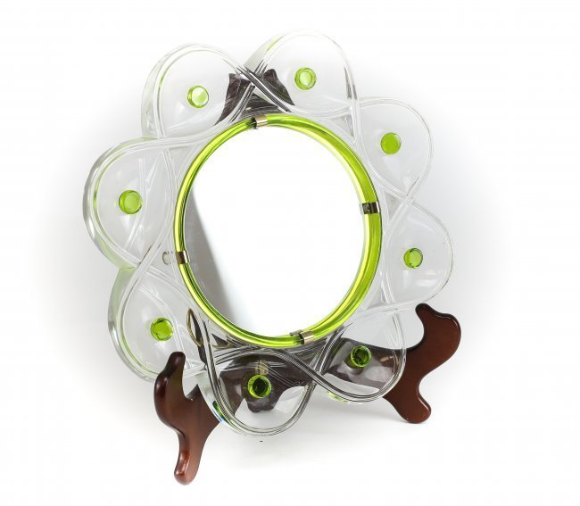 Vintage Lalique Glass Dresser Mirror Lime and Clear