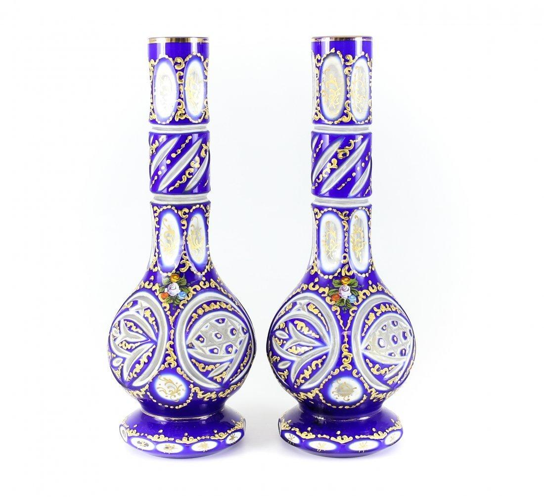 c.1920 Pair of Czech Three Layer Overlay Art Glass