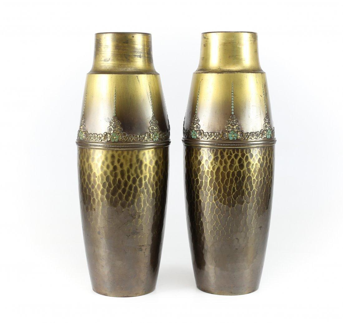 19th C. Pair WMF Arts & Crafts Enameled Brass Vase
