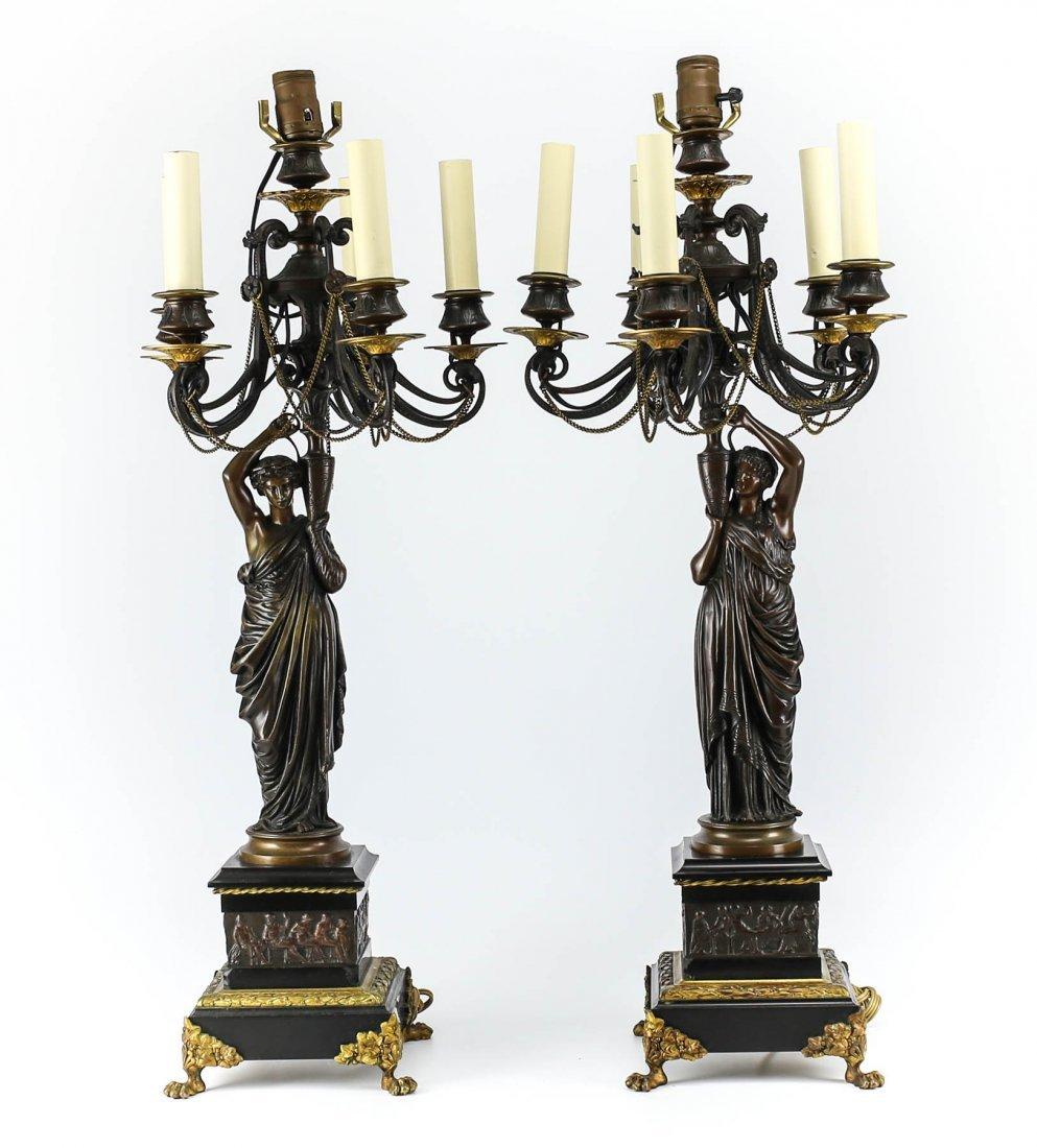 Pair H. Ferrat 19th Century Empire Bronze Candleabras