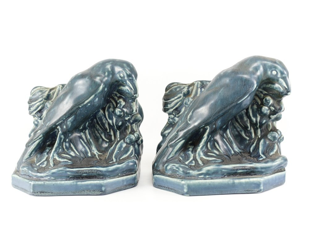 c1920 Rookwood Pottery Raven Bird Bookends