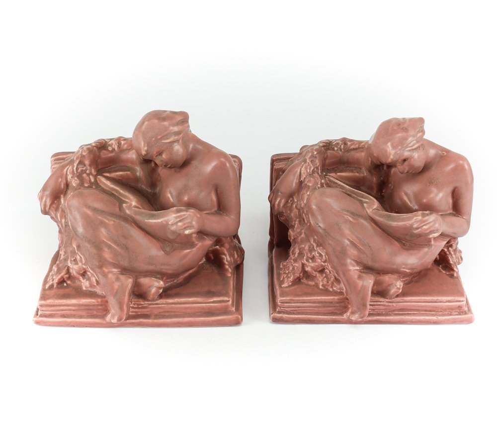 c1920 Rookwood Pottery The Reader Bookends