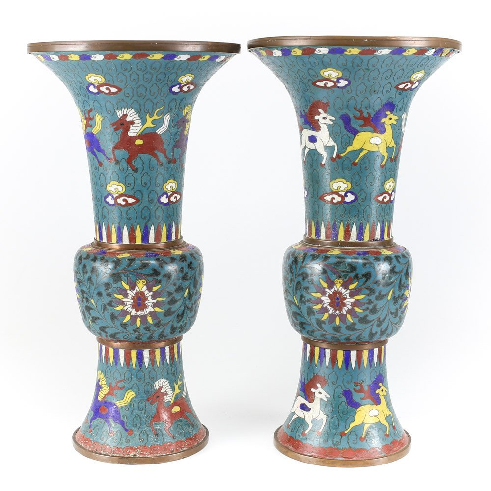 Pair of 18th Century Chinese Cloisonne Vases