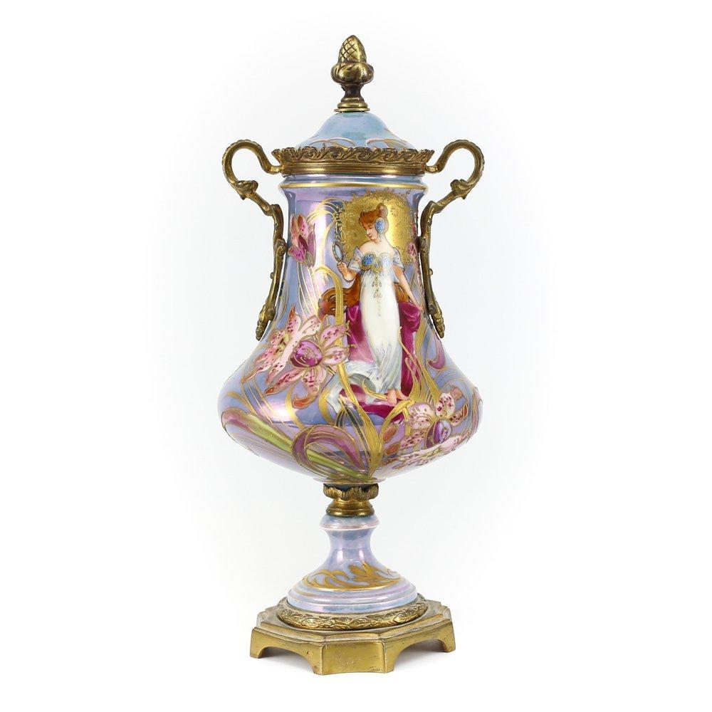 Sevres Porcelain Bronze Footed Iridescent Vase