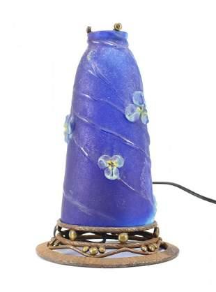 Amalric Walter Pate de Verre Glass & Iron Lamp