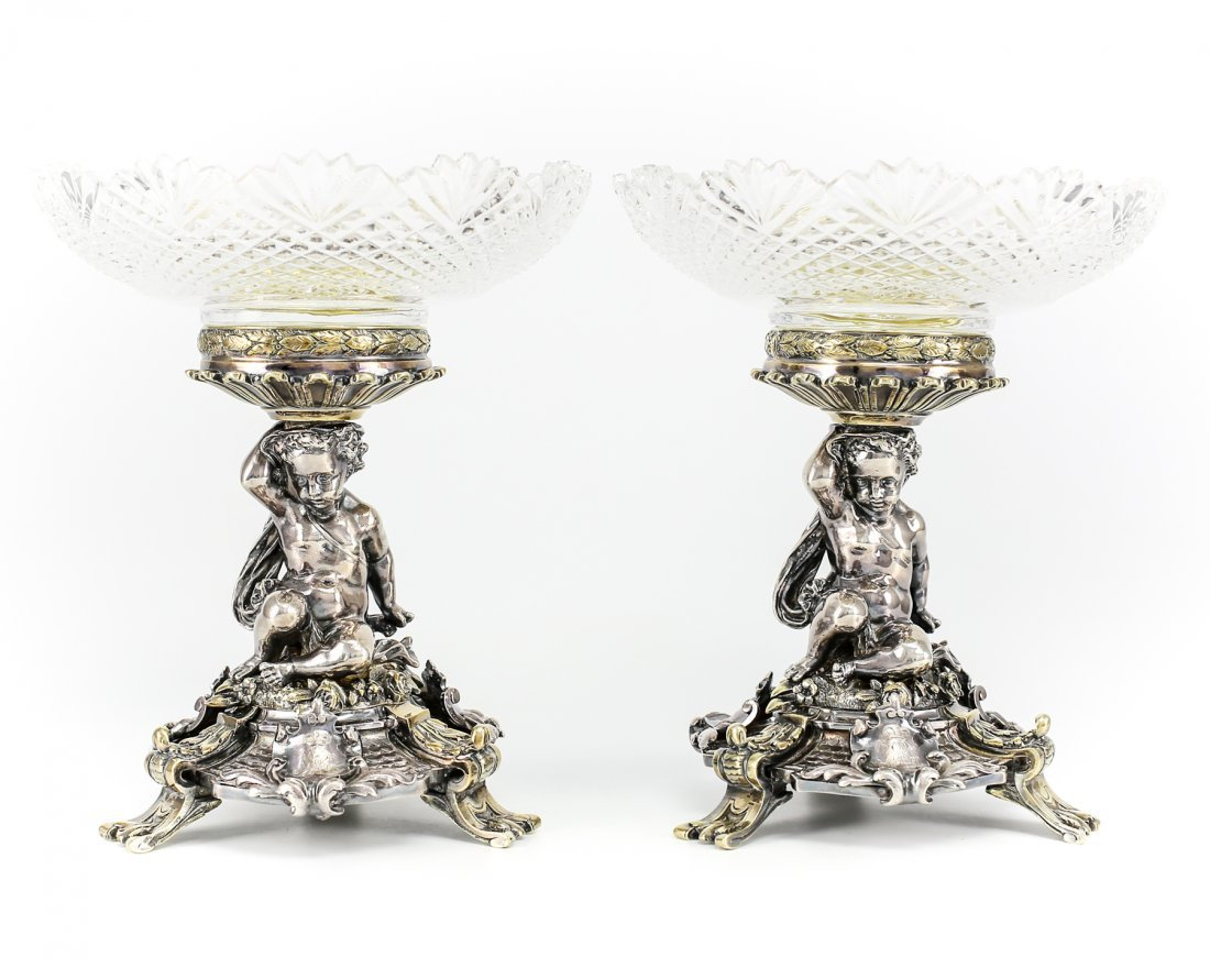 Pair of 19th Century Christofle Silver Plate & Crystal