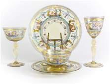 20pc Venetian Murano Glass Dinner Set Gandola Scenes