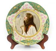 Royal Vienna Porcelain Portrait Cabinet Plate of Woman