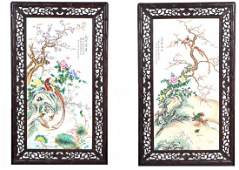 Pair Large Chinese Porcelain Plaques Wood Frame