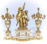 Napolean III Ormolu Onyx Figural 3 Piece Clock