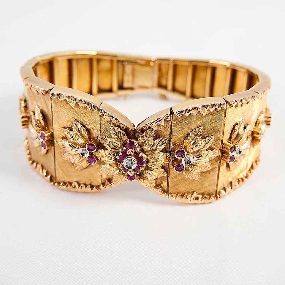 Vintage 18k Art Deco Yellow Gold Ruby Diamond Bracelet