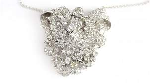 Mid Century Platinum Diamond Pendant Necklace