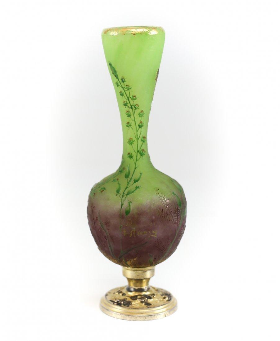 Miniature Daum Nancy Art Glass Vase w/ Gilt Silver