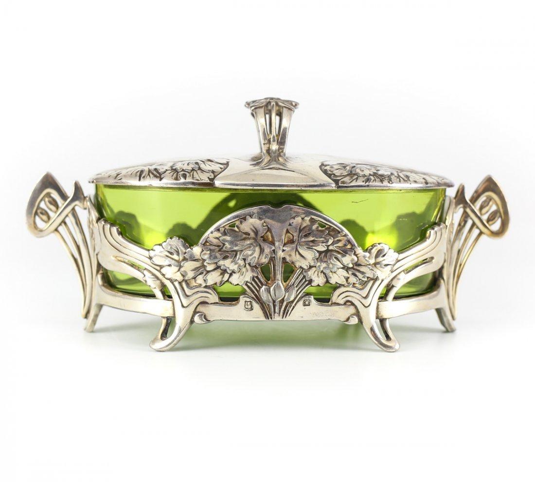 Christofle Gallia Metal Silverplate & Glass Butter Dish