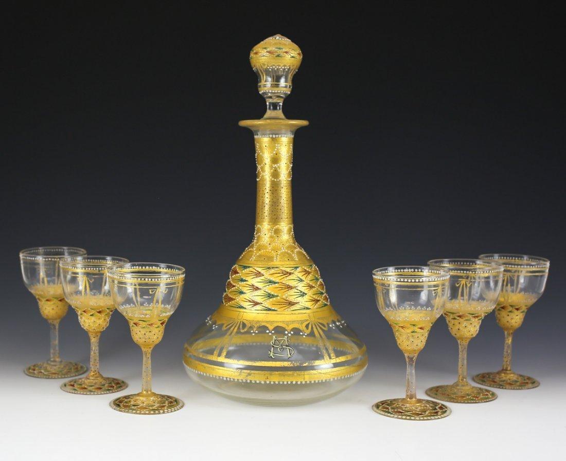 Venetian Jeweled Art Glass Decanter & Aperitifs