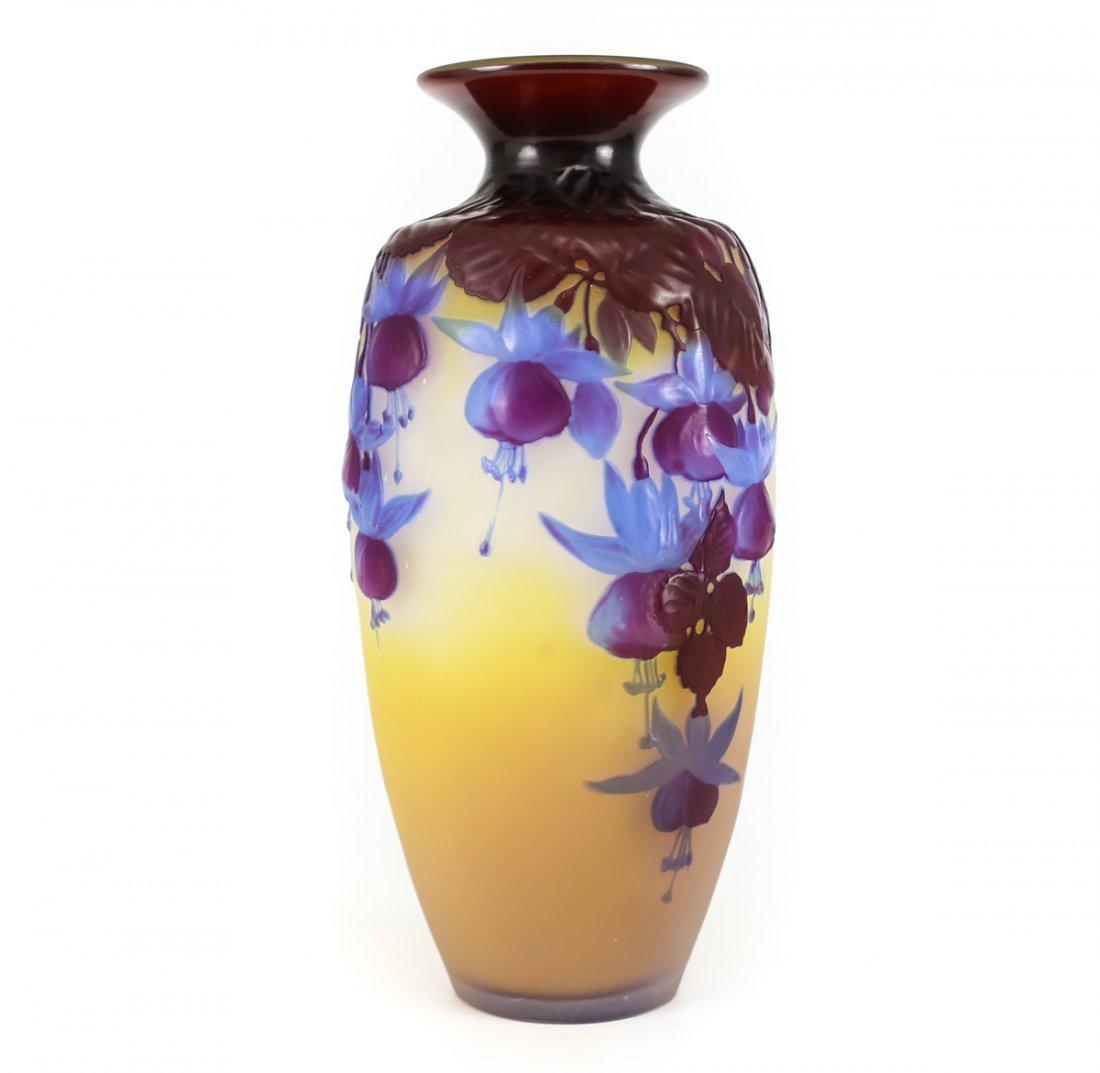 Galle mold blown pomegranate and fuchsia vase